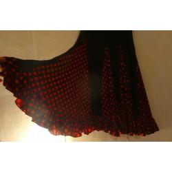 Jupe noire à godets pois noirs rouge