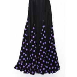 Jupe noire à godets pois violets