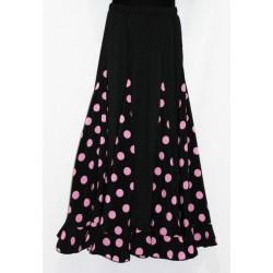 Jupe noire à godets pois rose