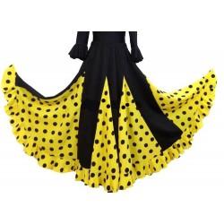 Jupe noire à godets jaune pois noirs