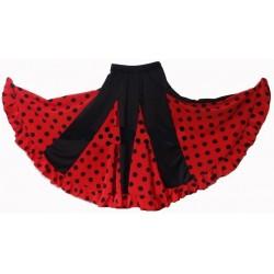 Jupe noire à godets rouge pois noirs