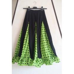 Jupe noire à godets verts pois noirs