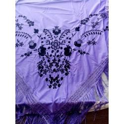 Châle 160 cm violet brodé noir