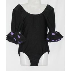 Body noir manches volantées à pois violets