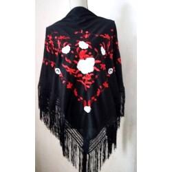 Châle 170 cm noir brodé rouge et blanc fils noirs