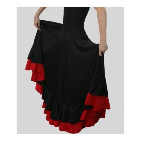 Jupe noire 2 volants (noir+rouge)