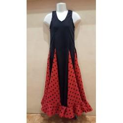 Robe noire à godets rouge pois noirs