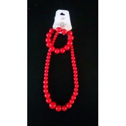Ensemble Collier-Bracelet-Boucles d'oreilles rouge