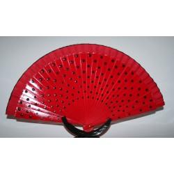 eventail rouge pois noir en bois