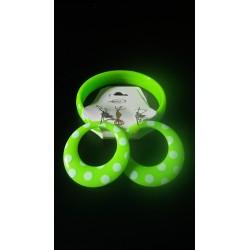 Bracelet + boucles vert pois blancs enfant