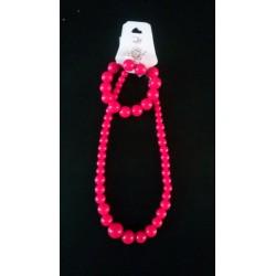 Ensemble Collier-Bracelet-Boucles d'oreilles  rose