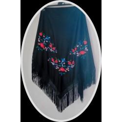 Châle 160 cm noir brodé multicolore fils noirs