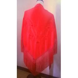 Châle 160 cm rouge brodé rouge