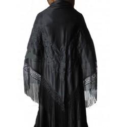 Châle 160 cm noir brodé noir